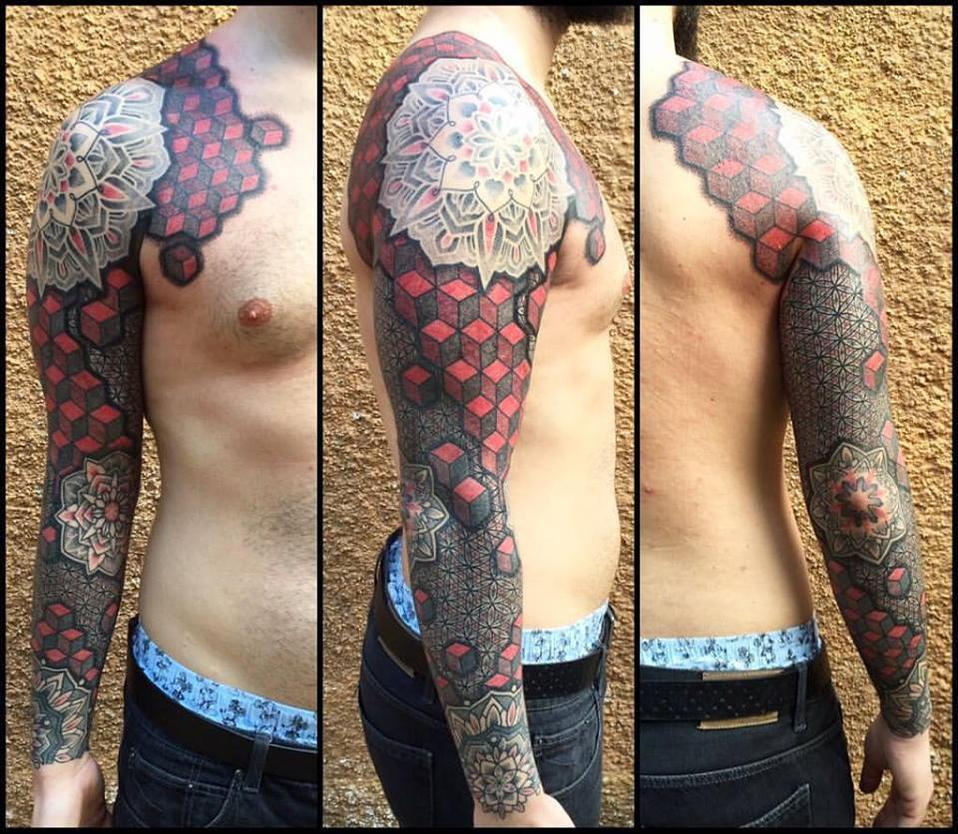 Geometric 3d sleeve by Meatshop-Tattoo