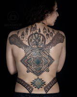 Back tattoo by Peter Blackhand Nomad by Meatshop-Tattoo