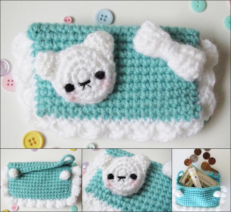 Kawaii bear crochet amigurumi coin purse teal by hellohappycrafts