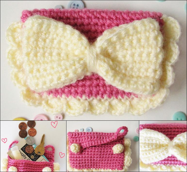 Kawaii bow crochet amigurumi coin purse pink by hellohappycrafts