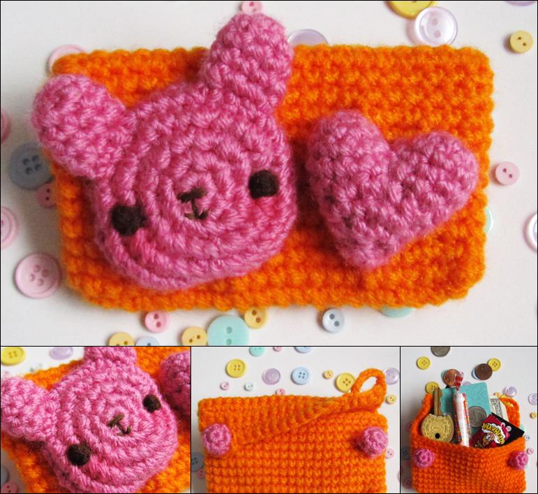 Kawaii bunny crochet amigurumi coin purse orange by hellohappycrafts