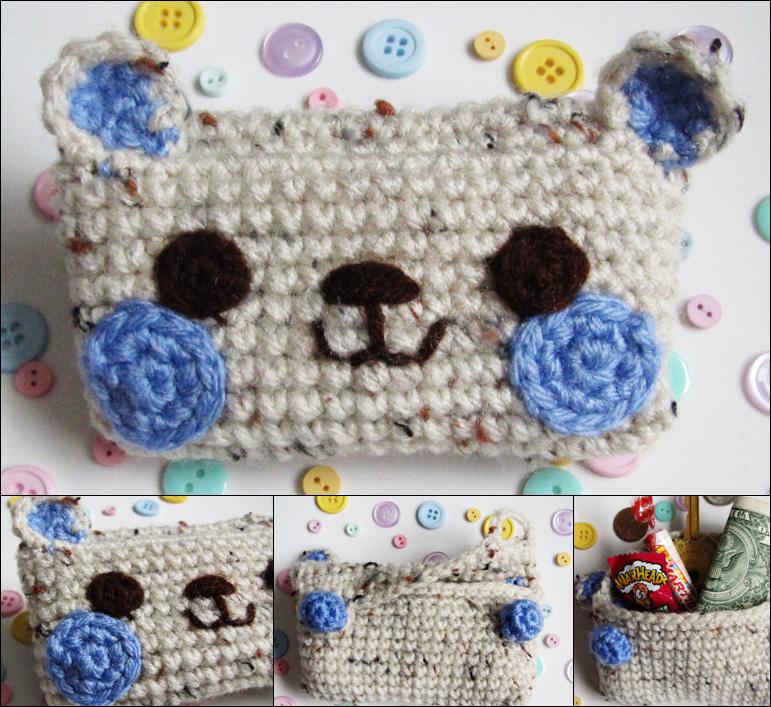 Kawaii bear crochet amigurumi coin purse purple by hellohappycrafts
