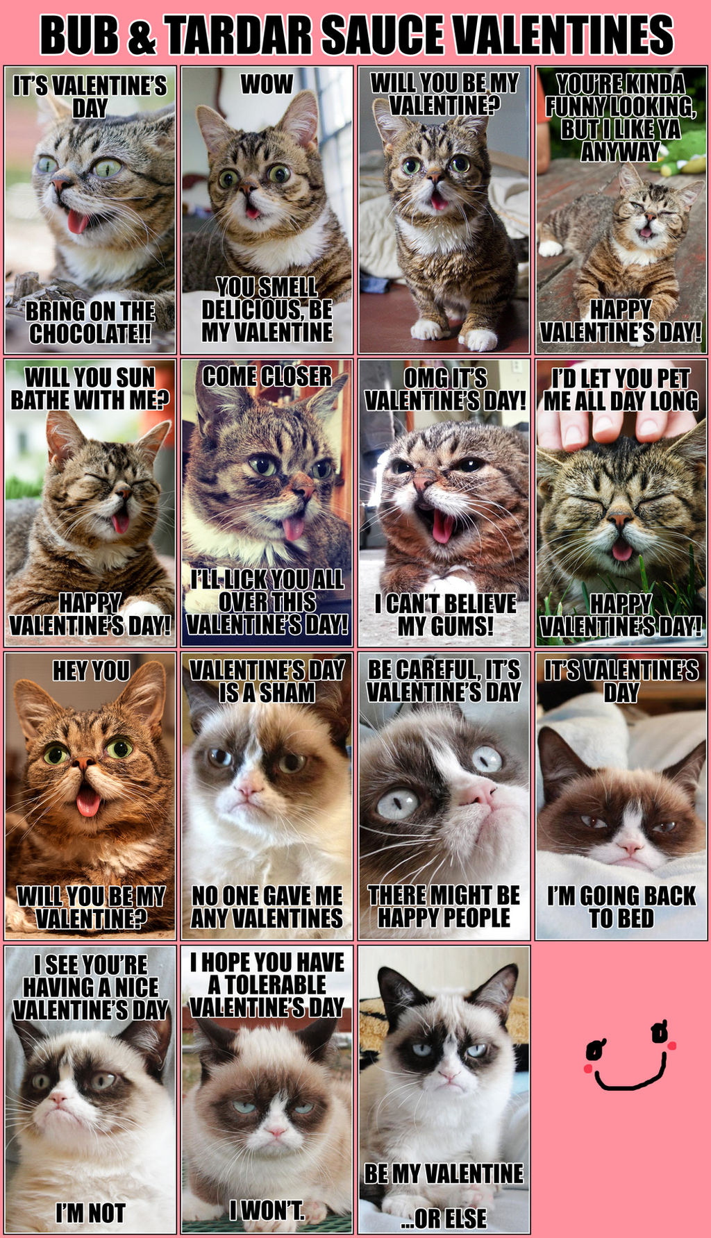 hellohappycrafts bub and tardar sauce grumpy cat valentines by hellohappycrafts - Grumpy Cat Valentine