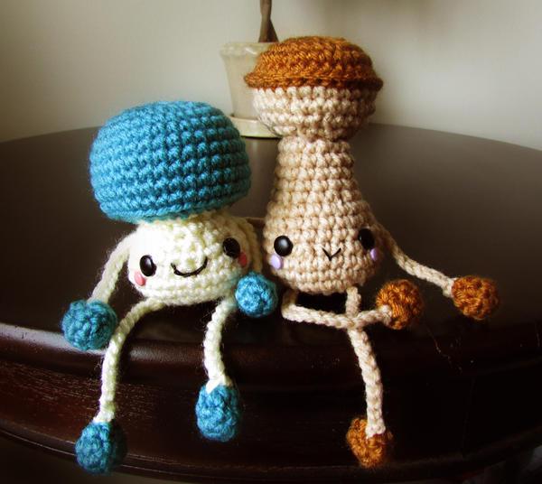 mushroom bros amigurumi crochet pattern by ...