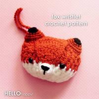 kawaii red fox wristlet crochet pattern by hellohappycrafts