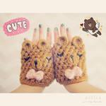 cute bear fingerless gloves