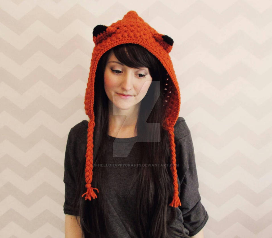 cute fox hood crochet pattern by hellohappycrafts