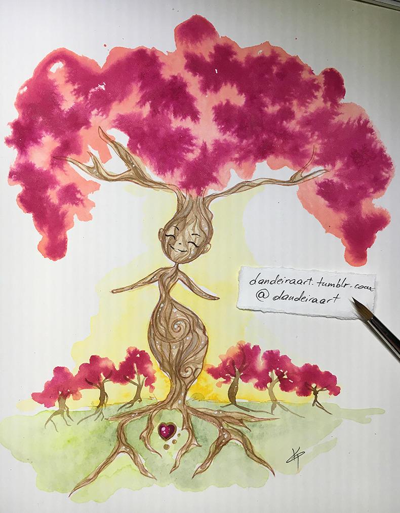 Spring tree spirit by DandeiraArt