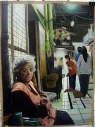 Old lady in the market by Jaguero92