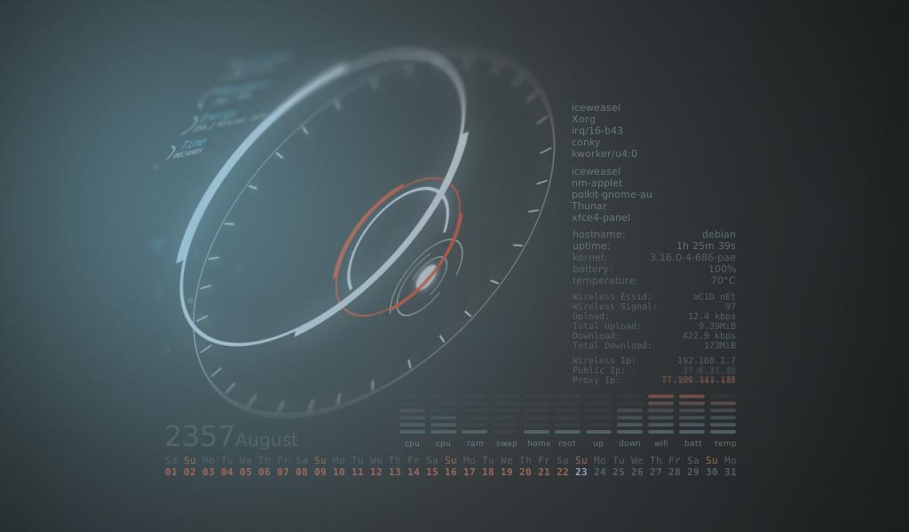 Debian Xfce Conky by kralis-dm