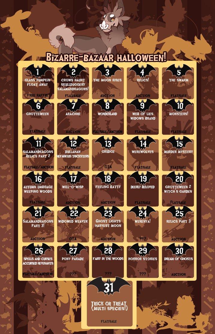 bizaare bazaar halloween calendar event schedule by lilkyubee