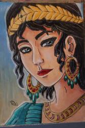 Inanna - Sumerian goddess of love - Oil pastel