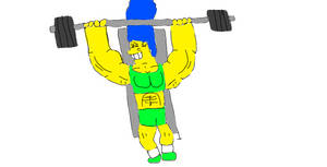 Buff Toon Girls at gym 3: Marge Simpson