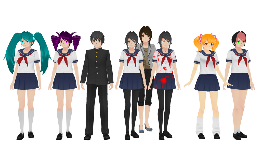 Mmd yandere simulator models by xxsnowcherryxx on deviantart for Yandere simulator coloring pages