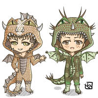 Snk Dragon Chibi - Jean and Marco by mewTalina