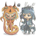 Snk Dragon Chibi - Colossal Titan and Kenny