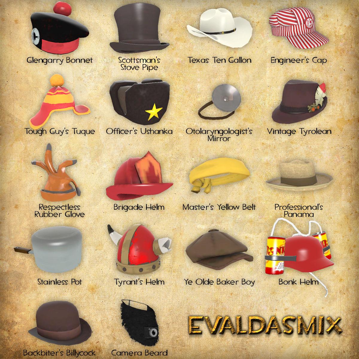 Czternaście z kilkudziesięciu nakryć głowy dostępnych w grze Team Fortress 2