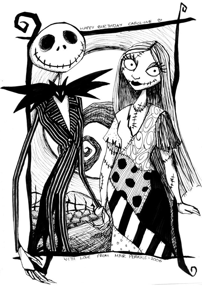 the nightmare before christmas coloring pages - jack and sally by tifachan on deviantart