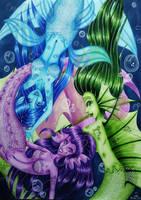 Playfull mermaids by Liesjebythesea