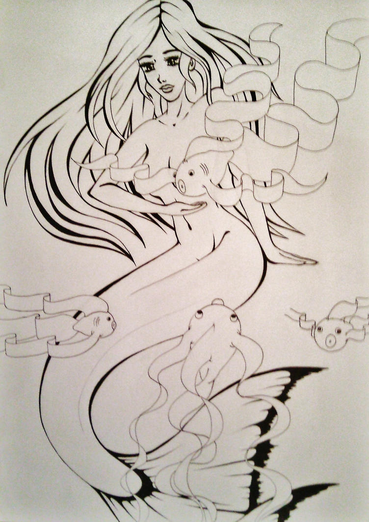 Line Drawing Mermaid : Mermaid line art by liesjebythesea on deviantart