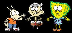 Rocko, Lincoln and SpongeBob Clothes Swap by sethmendozaDA