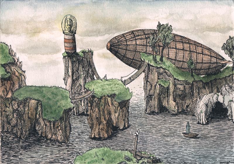 steampunk landscape by nessdu on deviantart