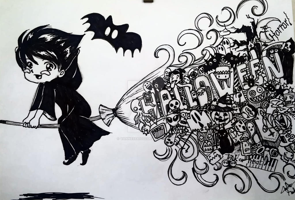 My First Doodle: For A Happy Halloween! by Vannessa1022 on DeviantArt
