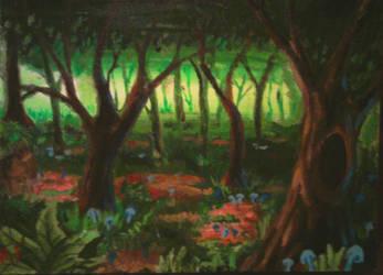 mushroom forest by afergusonart