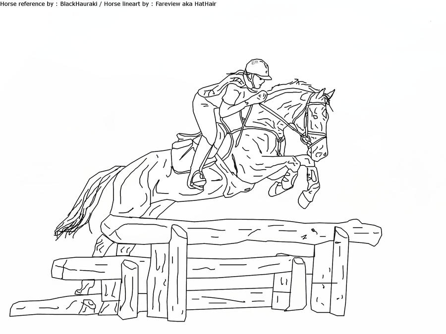 Cross Country Horse Drawing Sketch Coloring Page
