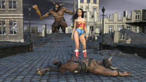 Wonder Woman Fights the Minotaur 5