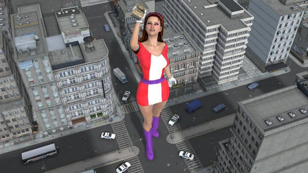 Elasti-Girl Stops Tank