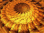 Golden wooden spiral