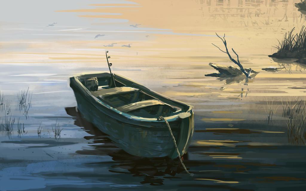 старая лодка рисунок