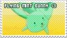Flying mint bunny stamp