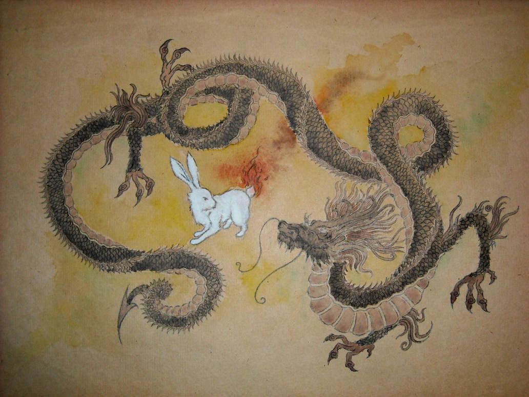 Dragon and Rabbit by aquineth