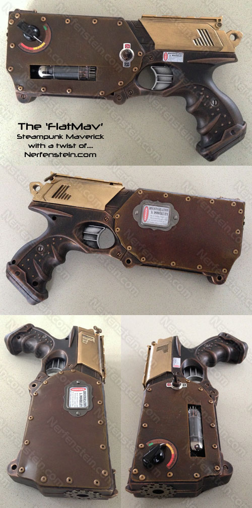 FlatMav Nerf Maverick steampunk flattened by GirlyGamerAU