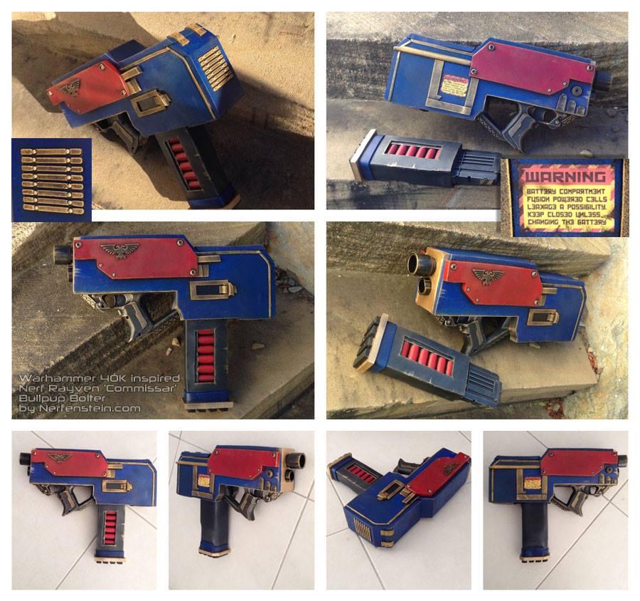 Warhammer 40k inspired commissar bolter Nerf gun by GirlyGamerAU