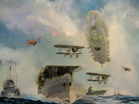 Painting: USS Macon over US fleet