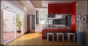 simple, red kitchen