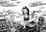 Tiki Beach Mermaid - Ink
