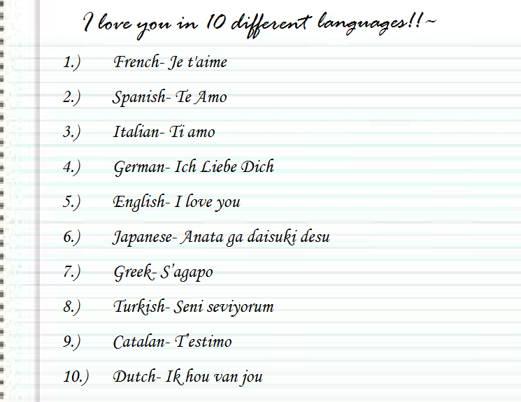 how to write i love you in french Have you ever wanted to say i love you in french or maybe in spanish impress your special someone by professing your love in 10 different languages luckily, linguistics turned out to be just as magical, and kat is now very happy to write about learning languages for the babbel magazine.