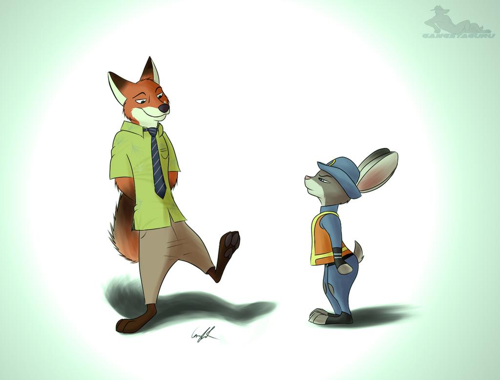 Nick and Judy (Zootopia Fan Art) by gangstaguru