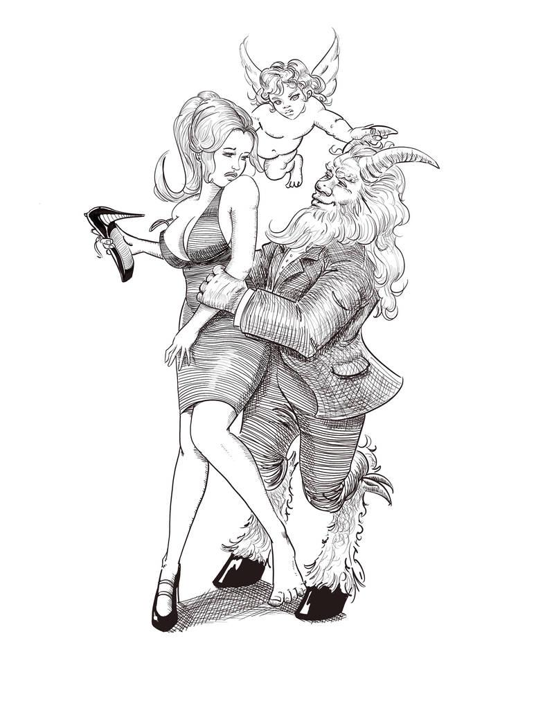 Pan, Aphrodite, and Eros by Yneddt