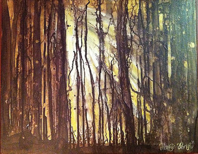 Sunlight through trees by HeatherWortleyArt