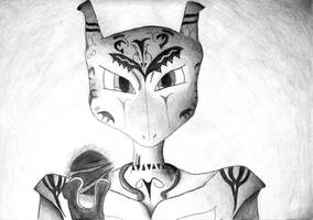 Negath Mewtwo shaded by Bleeding-Dragon