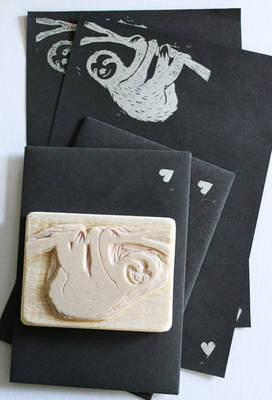 Handmade Sloth stamp/and letter set