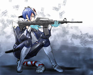 Yusuke with gun by queenvera