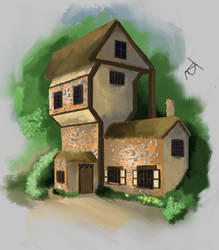Fantasy Cottage. Digital Painting