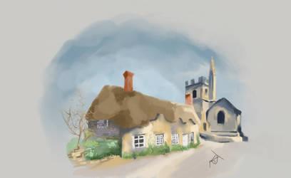 Cute Cottage Study, Digital Painting