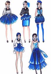 Fashion Sketch Blue Ladies